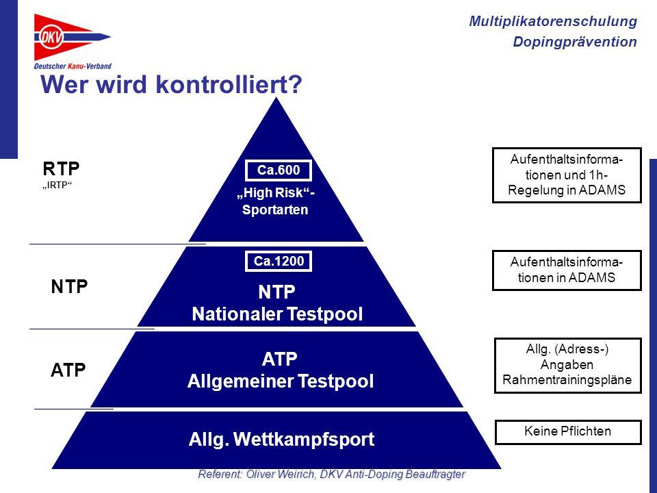 Multiplikatorenschulung Dopingprävention Referent: Oliver Weirich, DKV Anti-Doping Beauftragter Wer wird kontrolliert? ATP Allgemeiner Testpool ATP NT