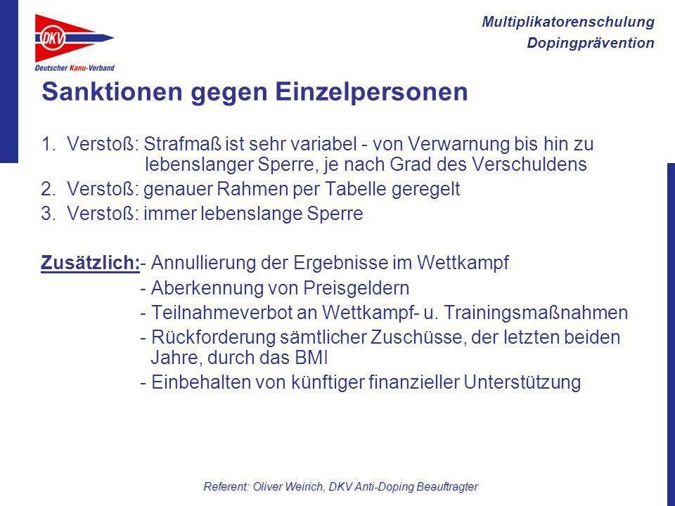 Multiplikatorenschulung Dopingprävention Referent: Oliver Weirich, DKV Anti-Doping Beauftragter Sanktionen gegen Einzelpersonen 1. Verstoß: Strafmaß i