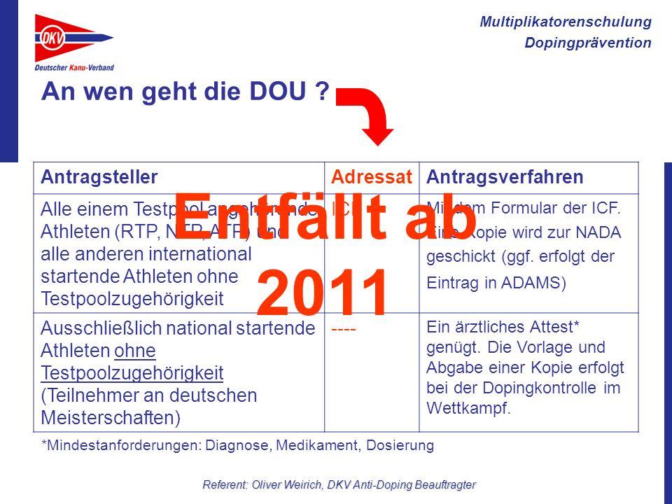 Multiplikatorenschulung Dopingprävention Referent: Oliver Weirich, DKV Anti-Doping Beauftragter An wen geht die DOU ? AntragstellerAdressatAntragsverf