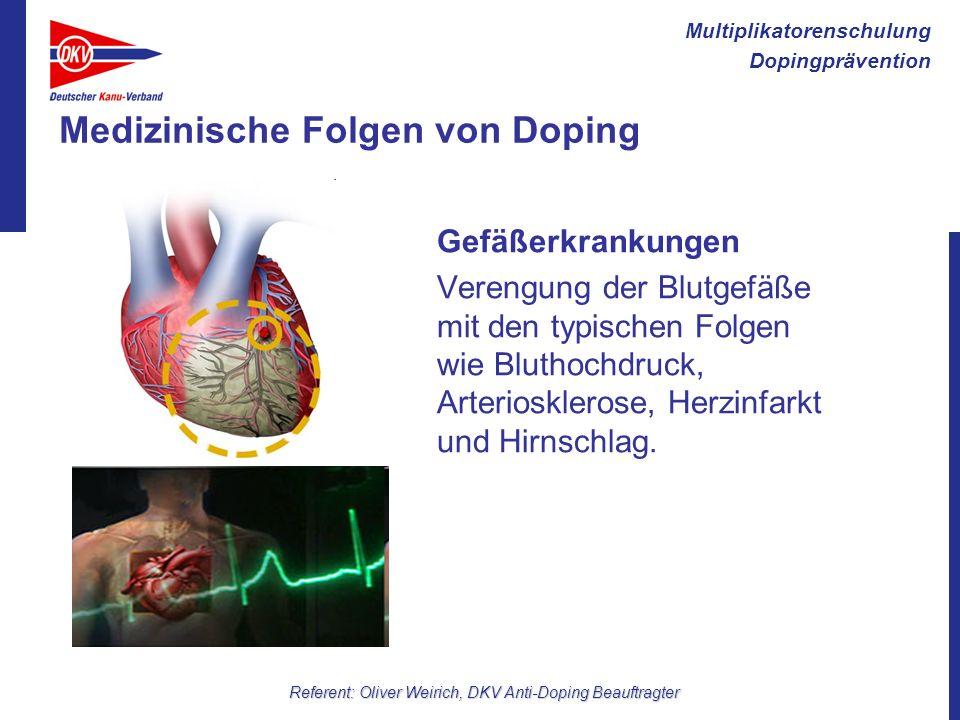 Multiplikatorenschulung Dopingprävention Referent: Oliver Weirich, DKV Anti-Doping Beauftragter Medizinische Folgen von Doping Gefäßerkrankungen Veren
