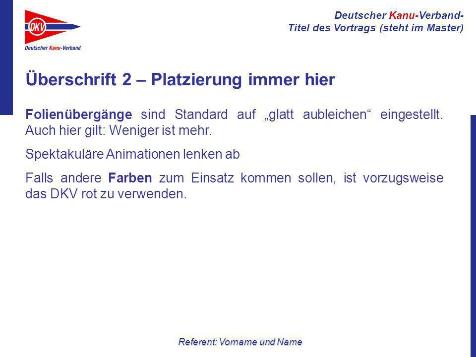 Deutscher Kanu-Verband- Titel des Vortrags (steht im Master) Referent: Vorname und Name Folienübergänge sind Standard auf glatt aubleichen eingestellt