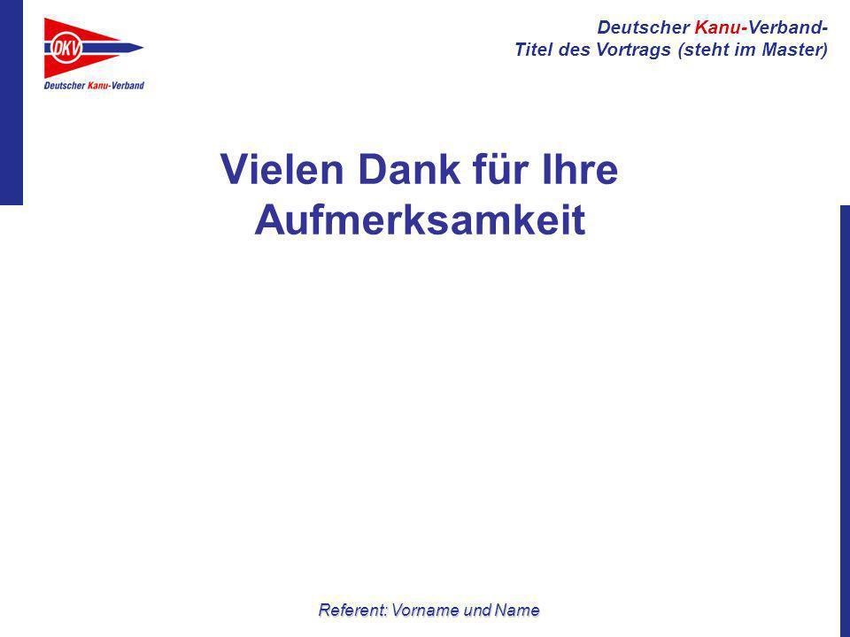 Deutscher Kanu-Verband- Titel des Vortrags (steht im Master) Referent: Vorname und Name Vielen Dank für Ihre Aufmerksamkeit