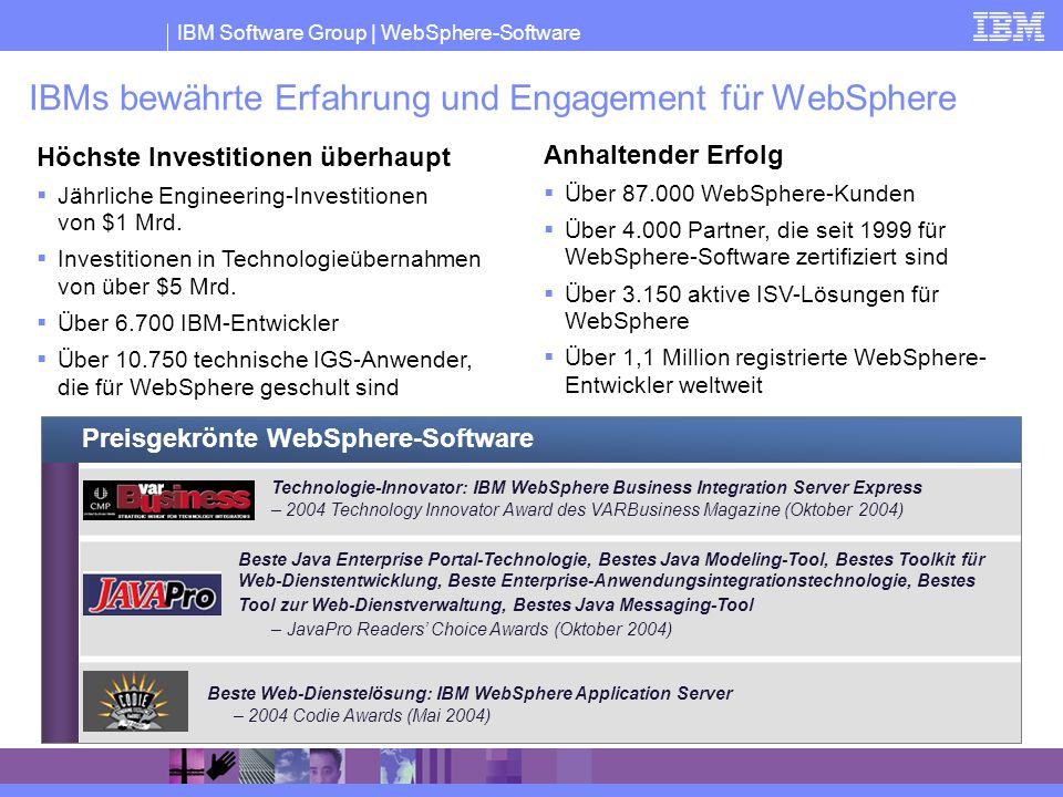 IBM Software Group | WebSphere-Software IBMs bewährte Erfahrung und Engagement für WebSphere Höchste Investitionen überhaupt Jährliche Engineering-Inv
