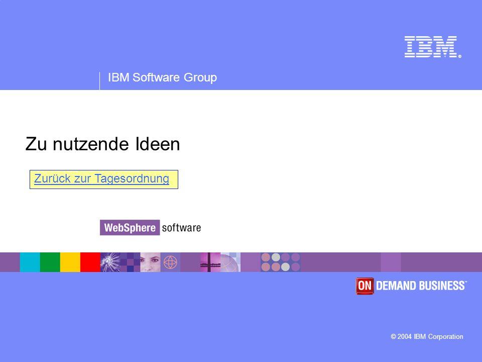 ® IBM Software Group © 2004 IBM Corporation Zu nutzende Ideen Zurück zur Tagesordnung