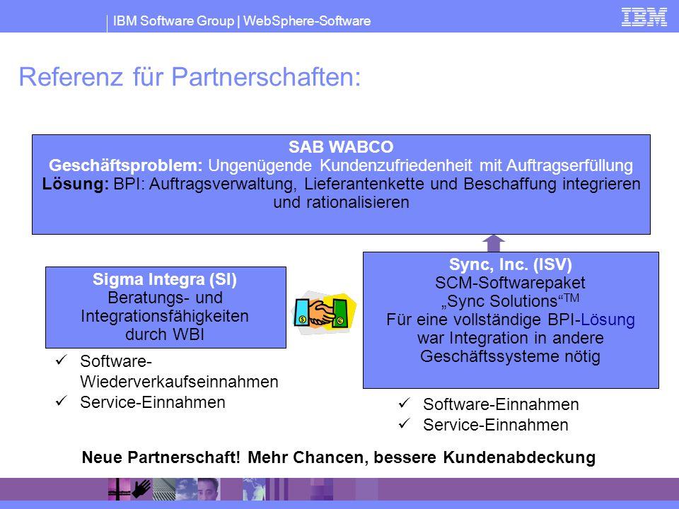IBM Software Group | WebSphere-Software Referenz für Partnerschaften: Software- Wiederverkaufseinnahmen Service-Einnahmen Software-Einnahmen Service-E