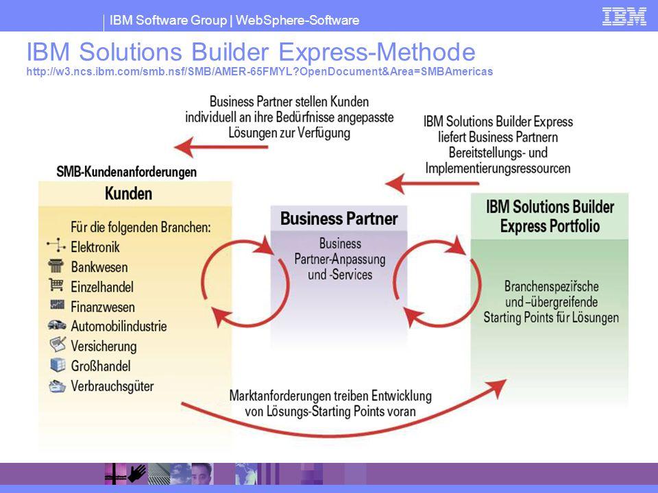 IBM Software Group | WebSphere-Software IBM Solutions Builder Express-Methode http://w3.ncs.ibm.com/smb.nsf/SMB/AMER-65FMYL?OpenDocument&Area=SMBAmeri