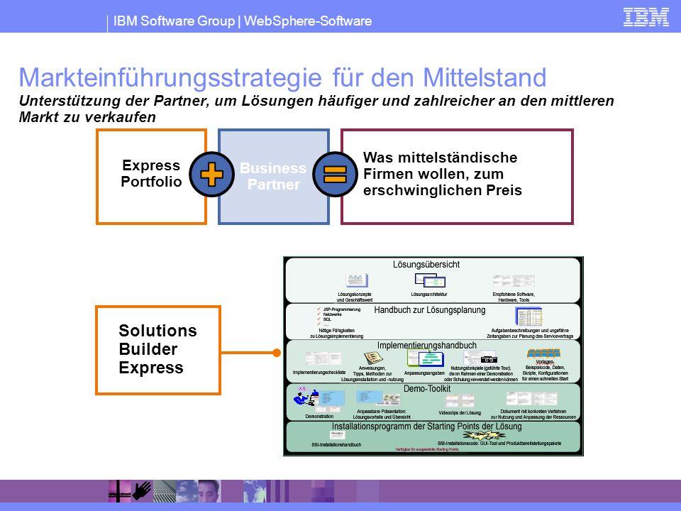 IBM Software Group | WebSphere-Software Express Portfolio Was mittelständische Firmen wollen, zum erschwinglichen Preis Business Partner Solutions Bui