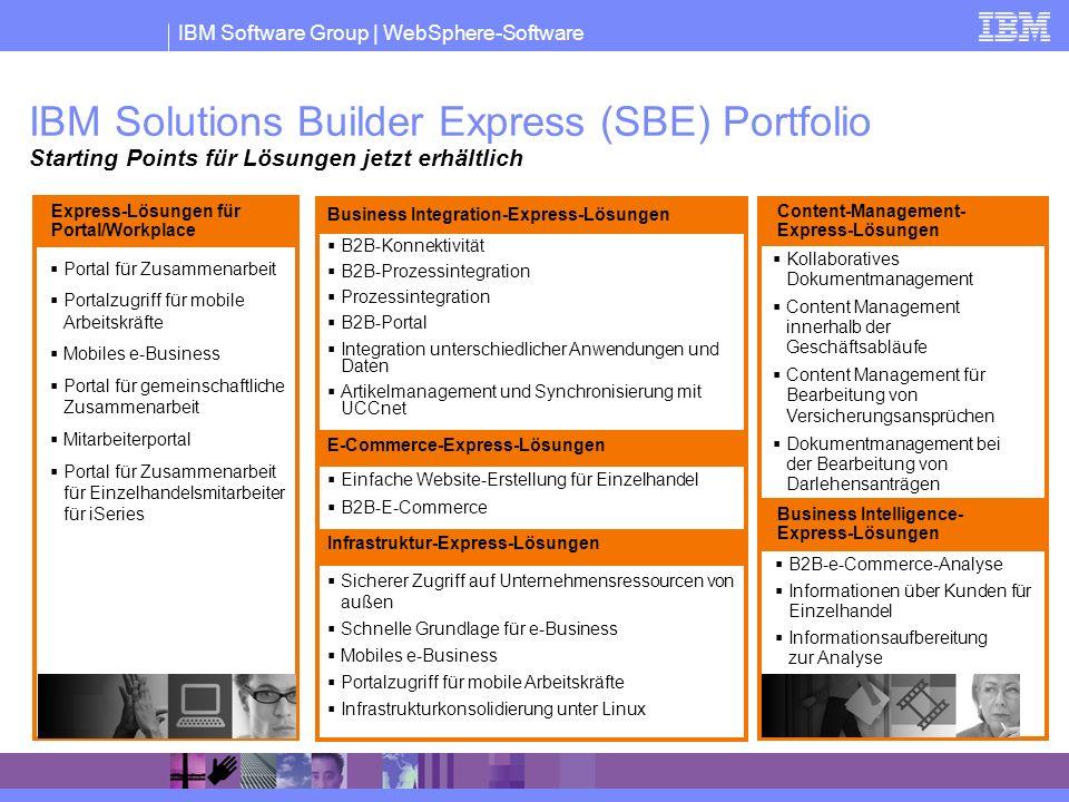 IBM Software Group | WebSphere-Software Portal für Zusammenarbeit Portalzugriff für mobile Arbeitskräfte Mobiles e-Business Portal für gemeinschaftlic