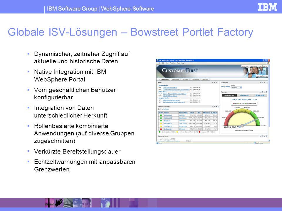 IBM Software Group | WebSphere-Software Globale ISV-Lösungen – Bowstreet Portlet Factory Dynamischer, zeitnaher Zugriff auf aktuelle und historische D