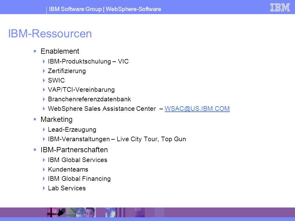 IBM Software Group | WebSphere-Software IBM-Ressourcen Enablement IBM-Produktschulung – VIC Zertifizierung SWIC VAP/TCI-Vereinbarung Branchenreferenzd