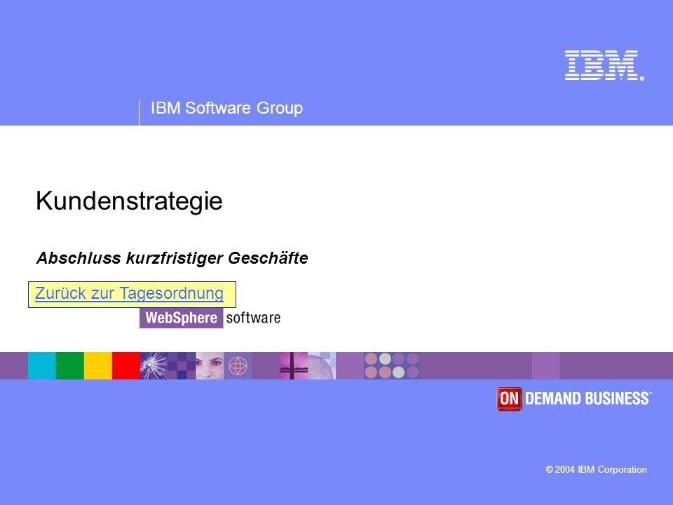 ® IBM Software Group © 2004 IBM Corporation Kundenstrategie Abschluss kurzfristiger Geschäfte Zurück zur Tagesordnung