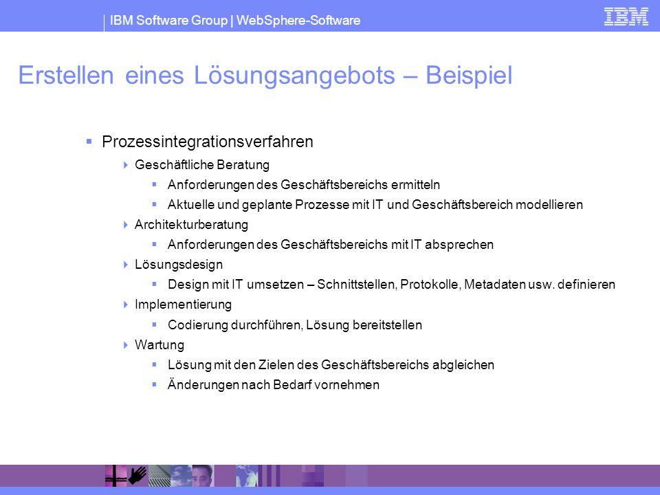 IBM Software Group | WebSphere-Software Erstellen eines Lösungsangebots – Beispiel Prozessintegrationsverfahren Geschäftliche Beratung Anforderungen d