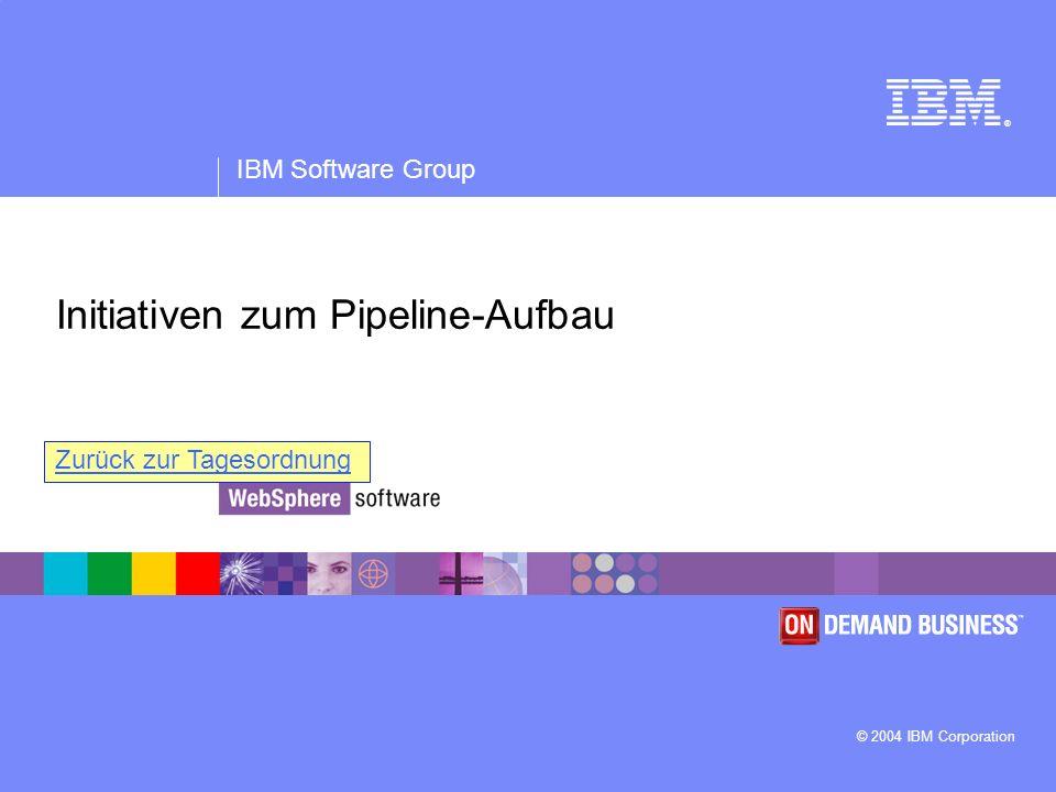 ® IBM Software Group © 2004 IBM Corporation Initiativen zum Pipeline-Aufbau Zurück zur Tagesordnung