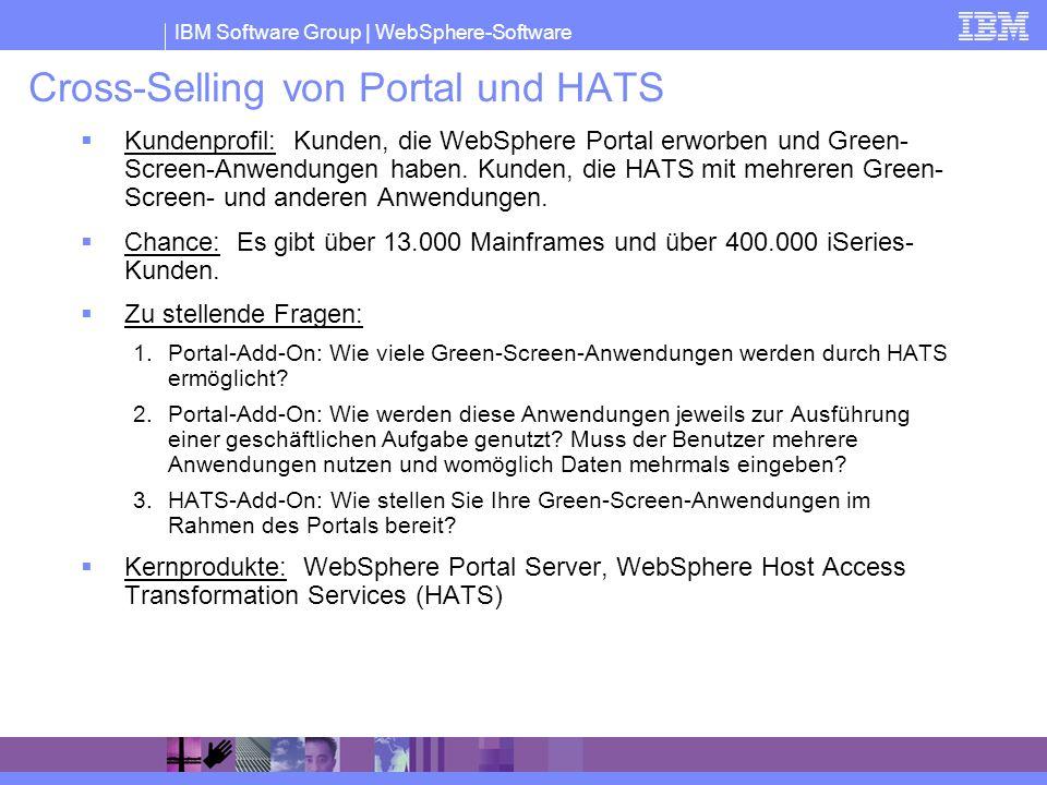 IBM Software Group | WebSphere-Software Cross-Selling von Portal und HATS Kundenprofil: Kunden, die WebSphere Portal erworben und Green- Screen-Anwend