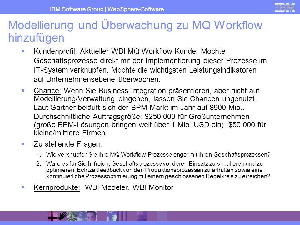 IBM Software Group | WebSphere-Software Modellierung und Überwachung zu MQ Workflow hinzufügen Kundenprofil: Aktueller WBI MQ Workflow-Kunde. Möchte G