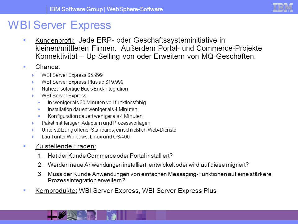 IBM Software Group | WebSphere-Software WBI Server Express Kundenprofil: Jede ERP- oder Geschäftssysteminitiative in kleinen/mittleren Firmen. Außerde
