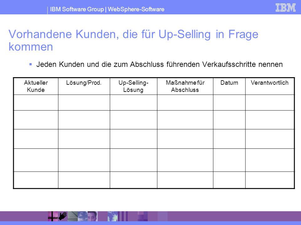 IBM Software Group | WebSphere-Software Vorhandene Kunden, die für Up-Selling in Frage kommen Jeden Kunden und die zum Abschluss führenden Verkaufssch