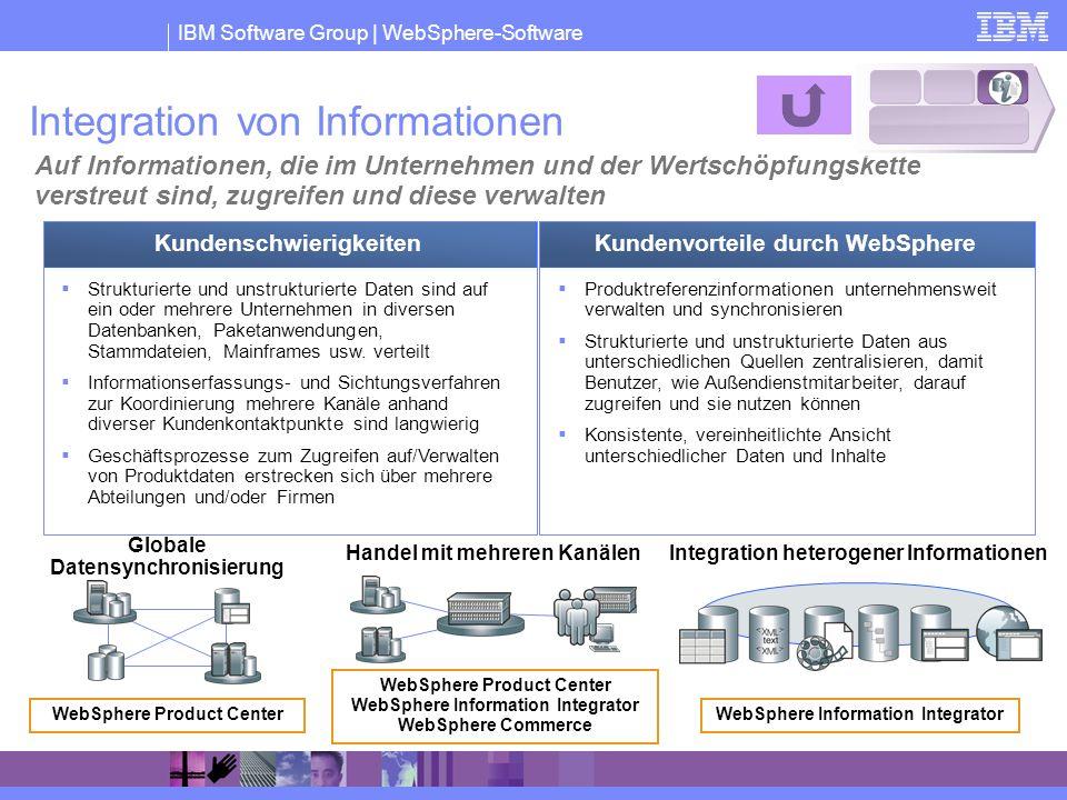 IBM Software Group | WebSphere-Software Integration von Informationen Auf Informationen, die im Unternehmen und der Wertschöpfungskette verstreut sind