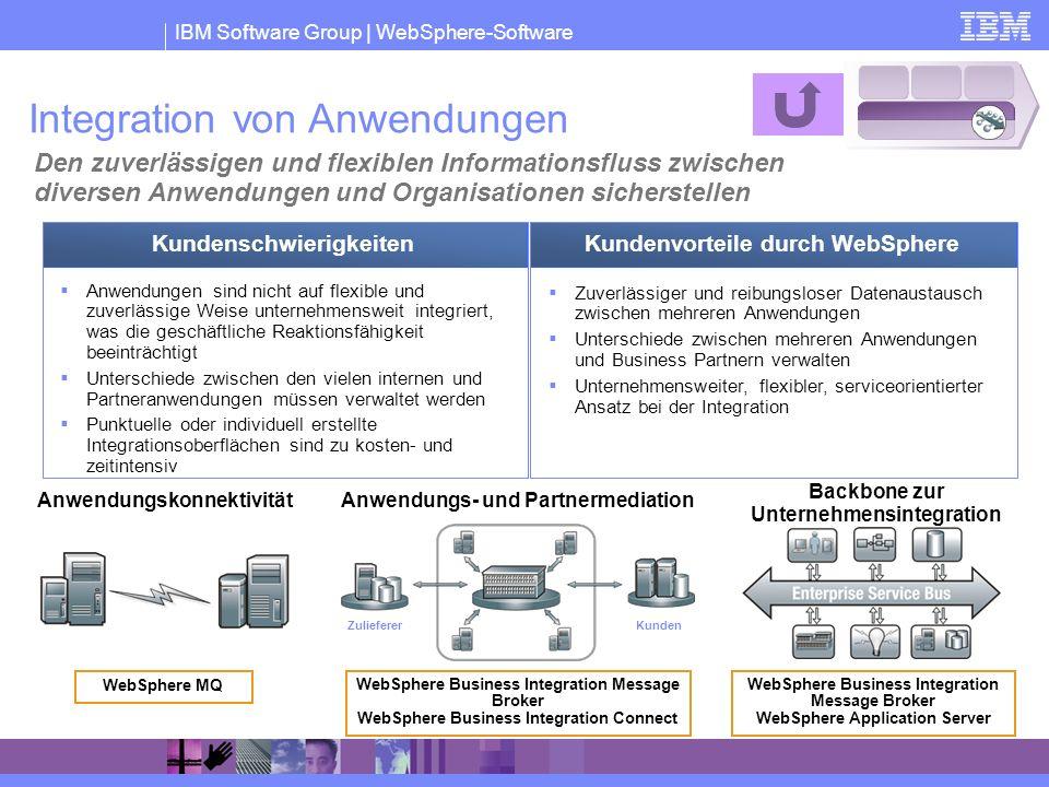 IBM Software Group | WebSphere-Software Integration von Anwendungen Den zuverlässigen und flexiblen Informationsfluss zwischen diversen Anwendungen un