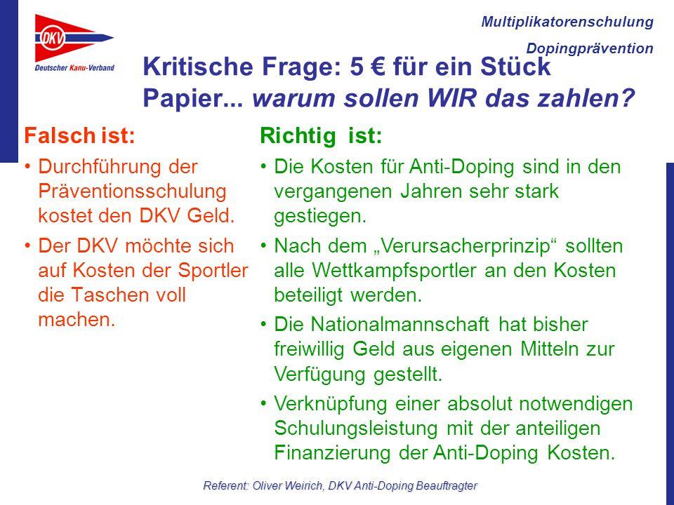 Multiplikatorenschulung Dopingprävention Referent: Oliver Weirich, DKV Anti-Doping Beauftragter Kritische Frage: 5 für ein Stück Papier...