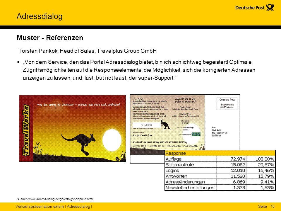 Verkaufspräsentation extern | Adressdialog |Seite Adressdialog 10 Muster - Referenzen Torsten Pankok, Head of Sales, Travelplus Group GmbH Von dem Ser