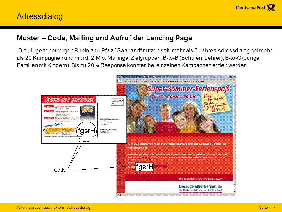 Verkaufspräsentation extern | Adressdialog |Seite Adressdialog 7 Muster – Code, Mailing und Aufruf der Landing Page Die Jugendherbergen Rheinland-Pfal