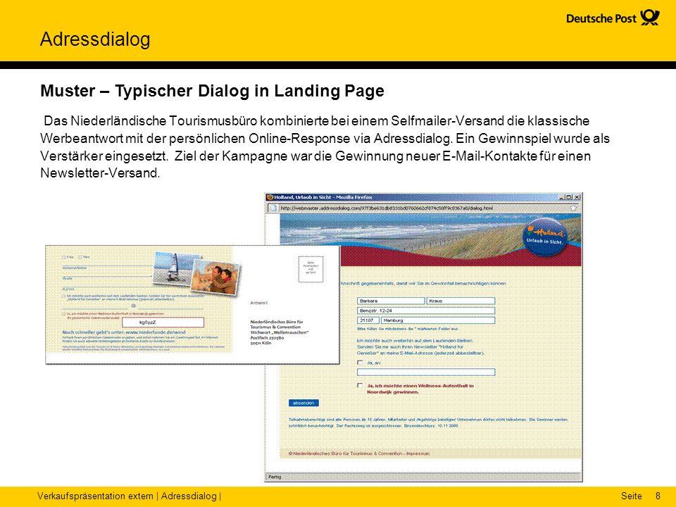 Verkaufspräsentation extern | Adressdialog |Seite Adressdialog 8 Muster – Typischer Dialog in Landing Page Das Niederländische Tourismusbüro kombinier