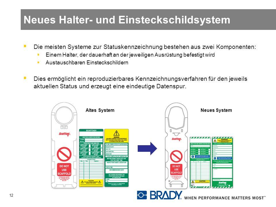 Neues Halter- und Einsteckschildsystem Die meisten Systeme zur Statuskennzeichnung bestehen aus zwei Komponenten: Einem Halter, der dauerhaft an der jeweiligen Ausrüstung befestigt wird Austauschbaren Einsteckschildern Dies ermöglicht ein reproduzierbares Kennzeichnungsverfahren für den jeweils aktuellen Status und erzeugt eine eindeutige Datenspur.
