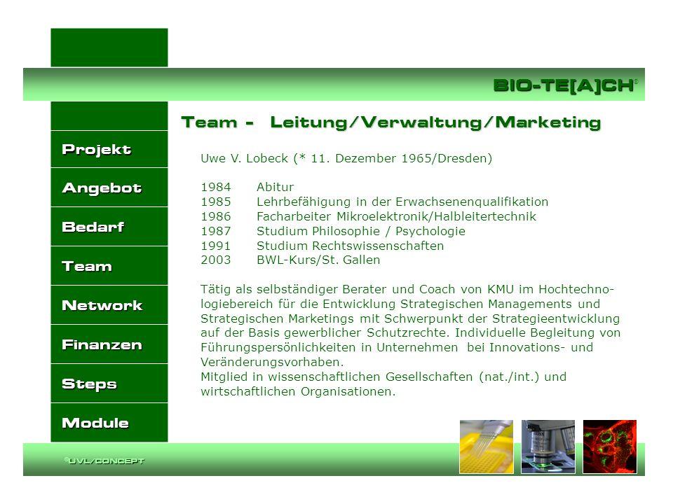 Projekt Angebot Bedarf Team Network Finanzen Steps Module BIO-TE[A]CH BIO-TE[A]CH ® UVL/CONCEPT ©UVL/CONCEPT Uwe V. Lobeck (* 11. Dezember 1965/Dresde