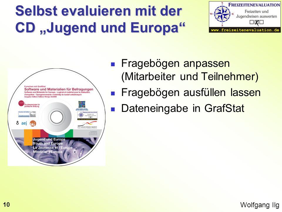 Wolfgang Ilg 10 Selbst evaluieren mit der CD Jugend und Europa Fragebögen anpassen (Mitarbeiter und Teilnehmer) Fragebögen ausfüllen lassen Dateneinga
