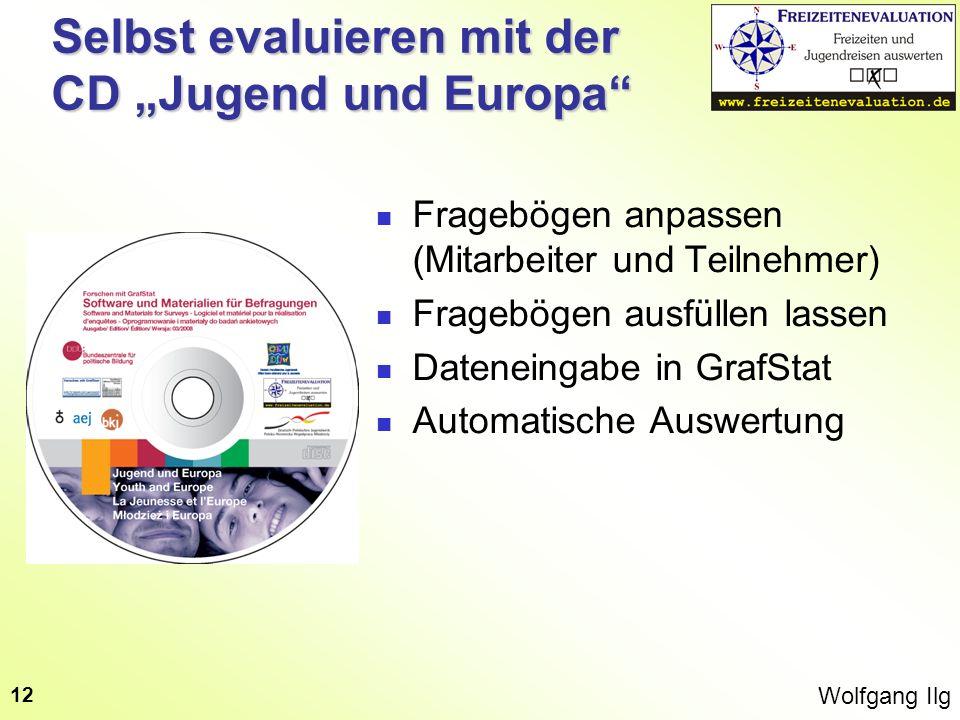 Wolfgang Ilg 12 Selbst evaluieren mit der CD Jugend und Europa Fragebögen anpassen (Mitarbeiter und Teilnehmer) Fragebögen ausfüllen lassen Dateneinga