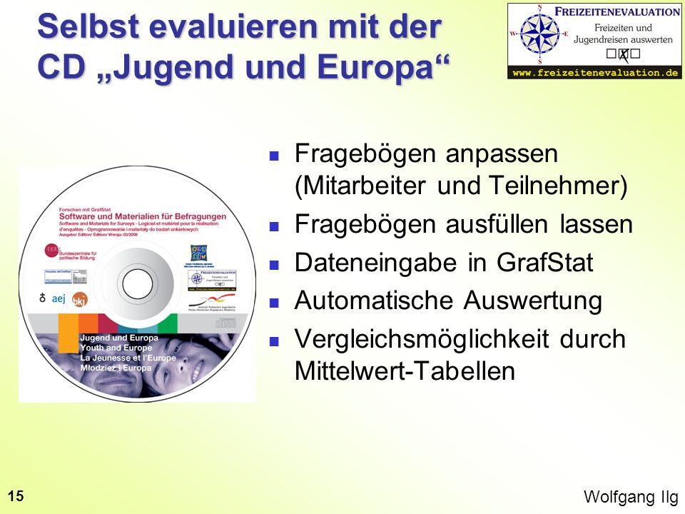 Wolfgang Ilg 15 Selbst evaluieren mit der CD Jugend und Europa Fragebögen anpassen (Mitarbeiter und Teilnehmer) Fragebögen ausfüllen lassen Dateneinga