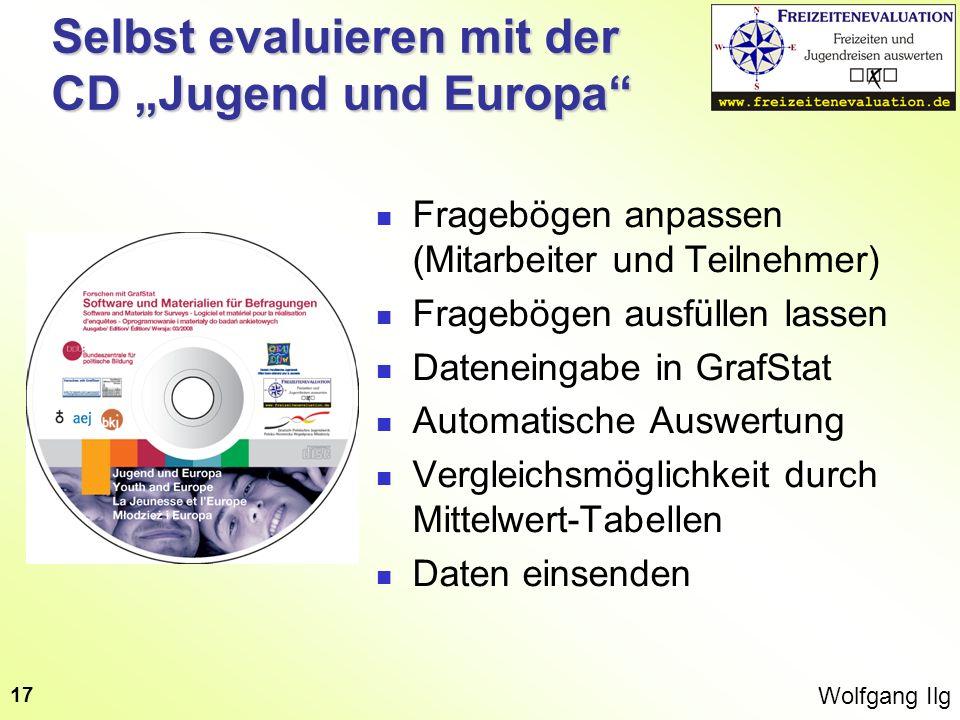 Wolfgang Ilg 17 Selbst evaluieren mit der CD Jugend und Europa Fragebögen anpassen (Mitarbeiter und Teilnehmer) Fragebögen ausfüllen lassen Dateneinga