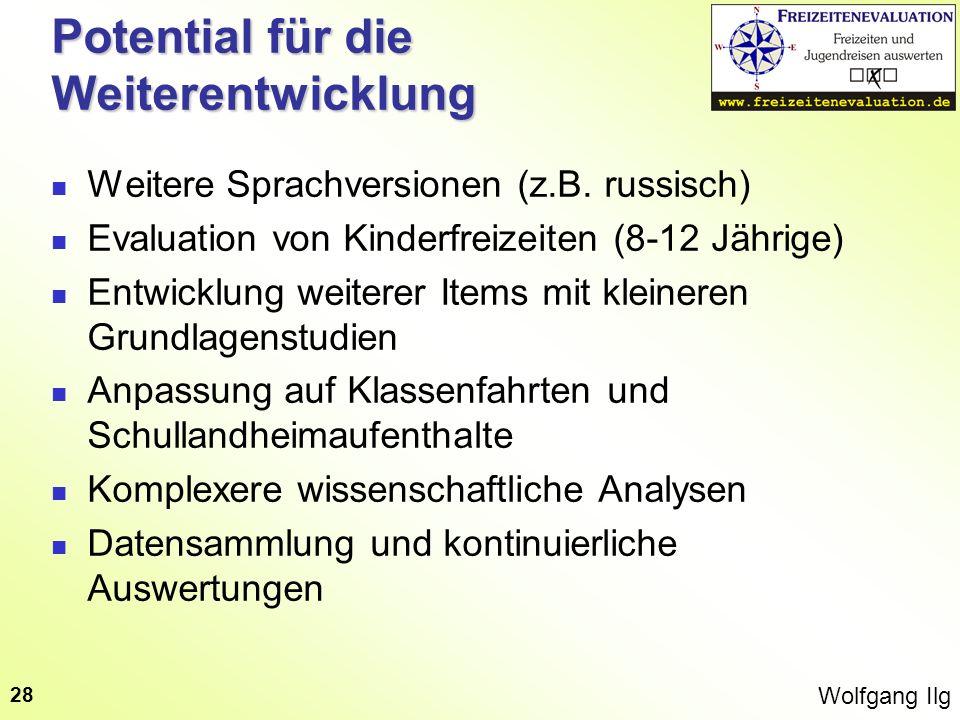 Wolfgang Ilg 28 Potential für die Weiterentwicklung Weitere Sprachversionen (z.B. russisch) Evaluation von Kinderfreizeiten (8-12 Jährige) Entwicklung