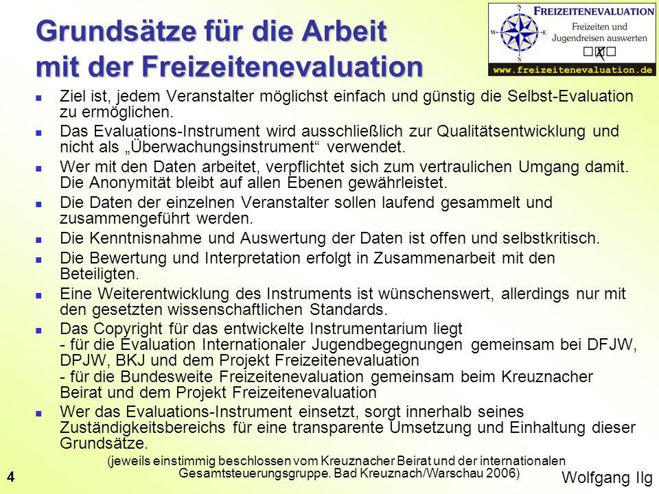 Wolfgang Ilg 4 Grundsätze für die Arbeit mit der Freizeitenevaluation Ziel ist, jedem Veranstalter möglichst einfach und günstig die Selbst-Evaluation