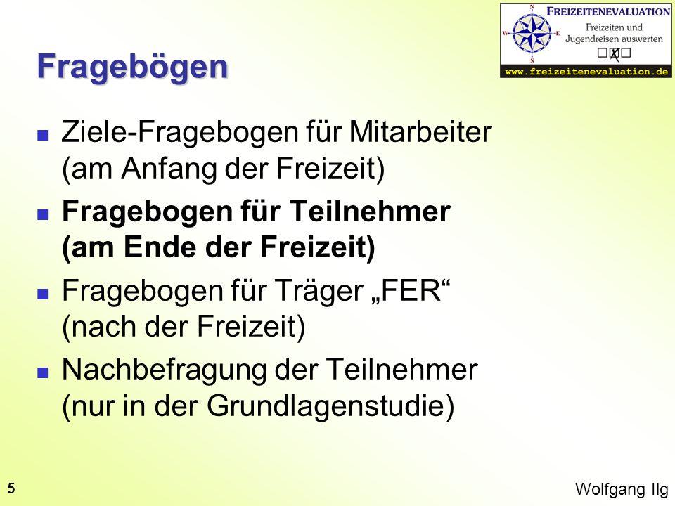Wolfgang Ilg 5Fragebögen Ziele-Fragebogen für Mitarbeiter (am Anfang der Freizeit) Fragebogen für Teilnehmer (am Ende der Freizeit) Fragebogen für Trä