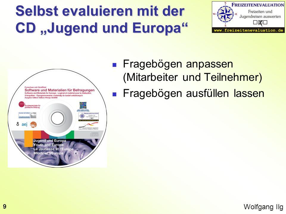 Wolfgang Ilg 10 Selbst evaluieren mit der CD Jugend und Europa Fragebögen anpassen (Mitarbeiter und Teilnehmer) Fragebögen ausfüllen lassen Dateneingabe in GrafStat