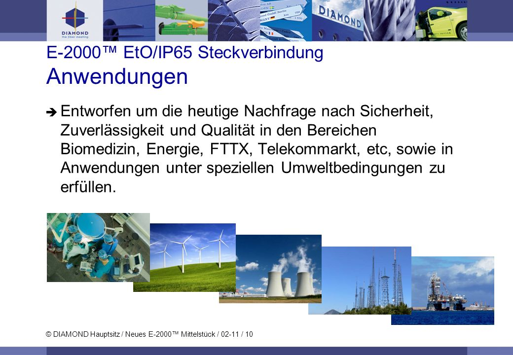 © DIAMOND Hauptsitz / Neues E-2000 Mittelstück / 02-11 / 10 E-2000 EtO/IP65 Steckverbindung Anwendungen Entworfen um die heutige Nachfrage nach Sicher
