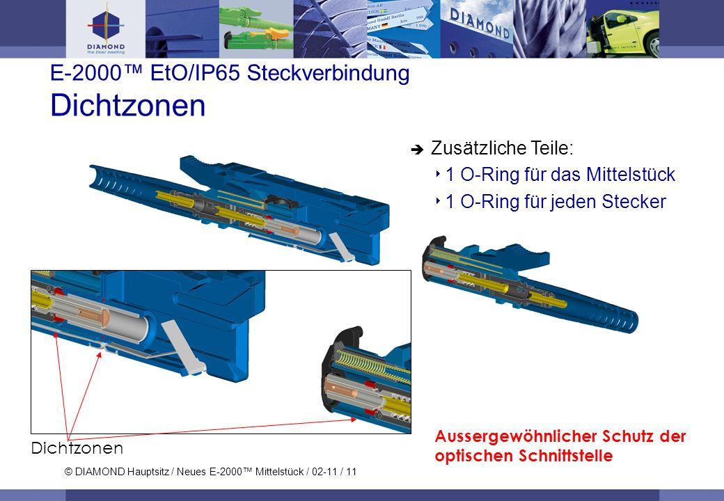 © DIAMOND Hauptsitz / Neues E-2000 Mittelstück / 02-11 / 11 E-2000 EtO/IP65 Steckverbindung Dichtzonen Zusätzliche Teile: 1 O-Ring für das Mittelstück