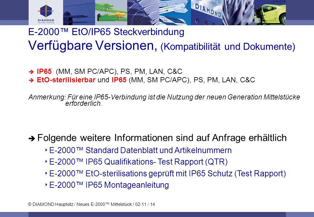 © DIAMOND Hauptsitz / Neues E-2000 Mittelstück / 02-11 / 14 E-2000 EtO/IP65 Steckverbindung Verfügbare Versionen, (Kompatibilität und Dokumente) IP65