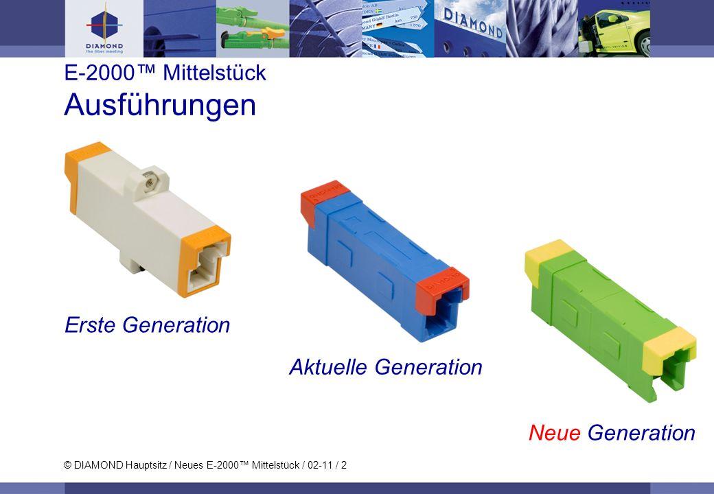 © DIAMOND Hauptsitz / Neues E-2000 Mittelstück / 02-11 / 2 E-2000 Mittelstück Ausführungen Erste Generation Aktuelle Generation Neue Generation