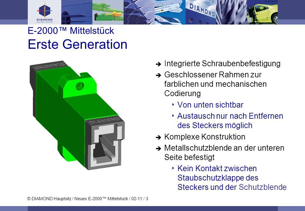 © DIAMOND Hauptsitz / Neues E-2000 Mittelstück / 02-11 / 3 E-2000 Mittelstück Erste Generation Integrierte Schraubenbefestigung Geschlossener Rahmen z