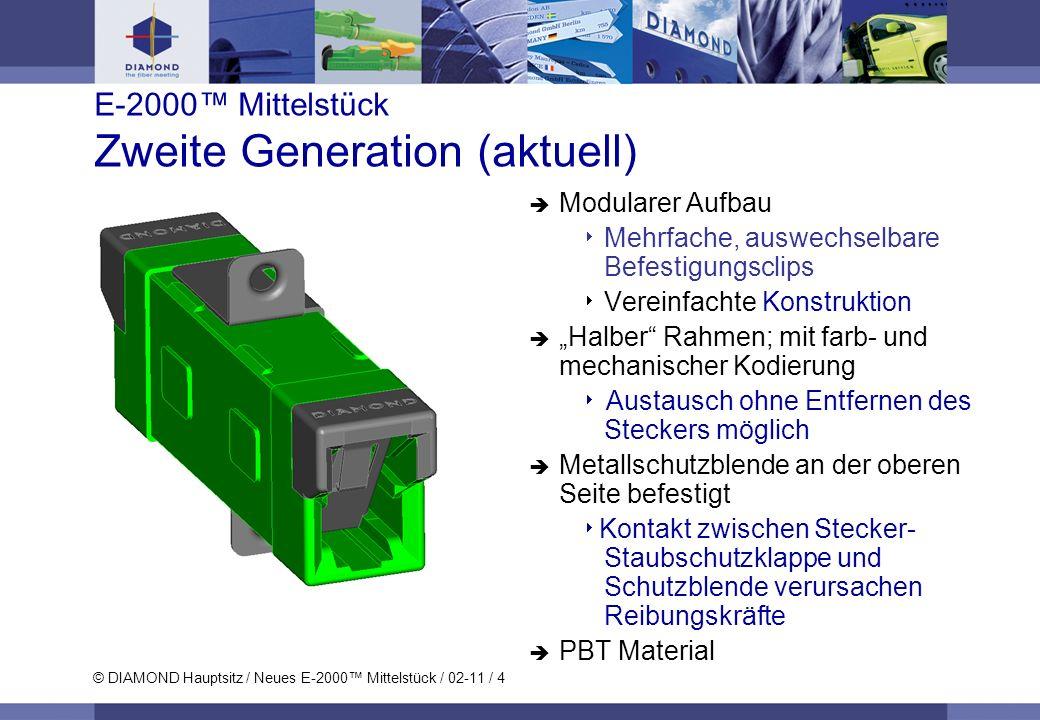 © DIAMOND Hauptsitz / Neues E-2000 Mittelstück / 02-11 / 4 E-2000 Mittelstück Zweite Generation (aktuell) Modularer Aufbau Mehrfache, auswechselbare B