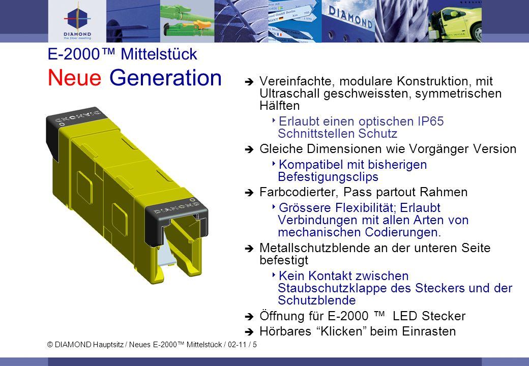 © DIAMOND Hauptsitz / Neues E-2000 Mittelstück / 02-11 / 5 E-2000 Mittelstück Neue Generation Vereinfachte, modulare Konstruktion, mit Ultraschall ges