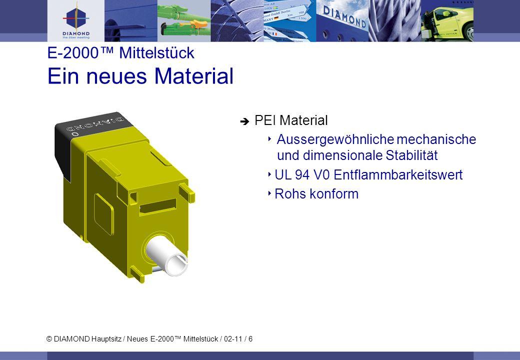 © DIAMOND Hauptsitz / Neues E-2000 Mittelstück / 02-11 / 6 E-2000 Mittelstück Ein neues Material PEI Material Aussergewöhnliche mechanische und dimens
