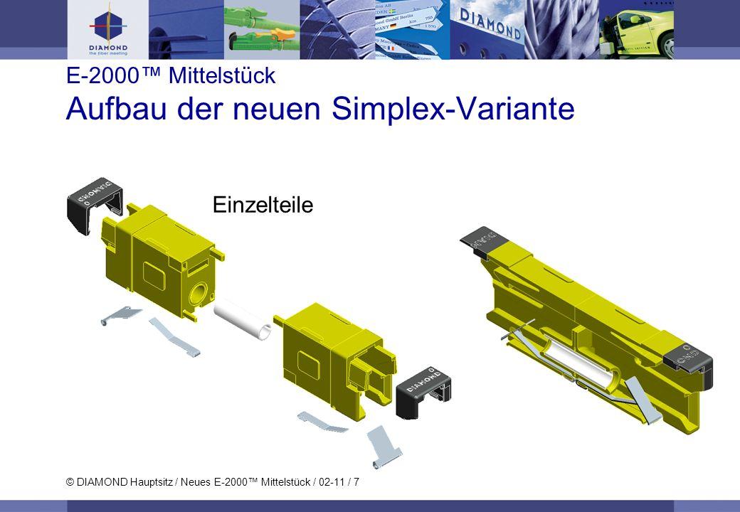 © DIAMOND Hauptsitz / Neues E-2000 Mittelstück / 02-11 / 7 E-2000 Mittelstück Aufbau der neuen Simplex-Variante Einzelteile