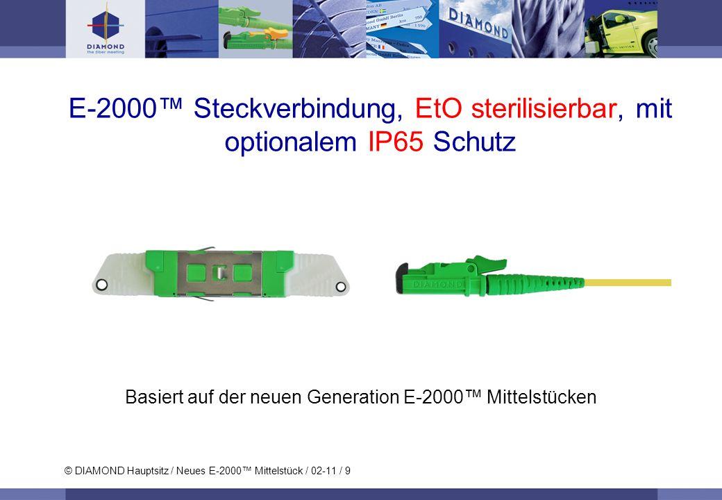 © DIAMOND Hauptsitz / Neues E-2000 Mittelstück / 02-11 / 9 E-2000 Steckverbindung, EtO sterilisierbar, mit optionalem IP65 Schutz Basiert auf der neue