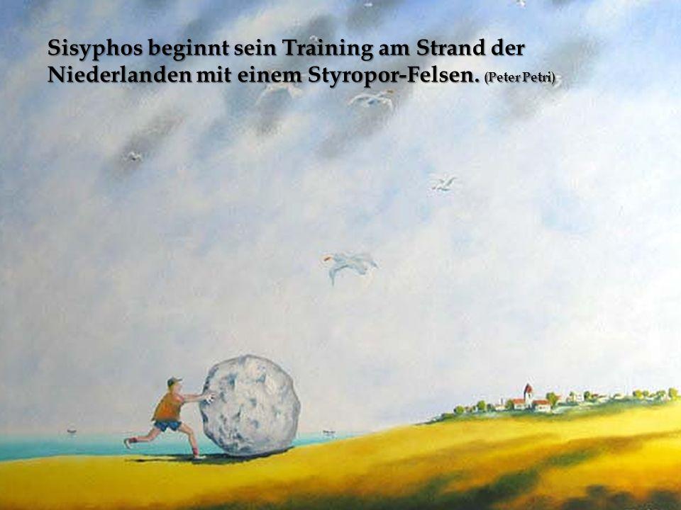 Sisyphos beginnt sein Training am Strand der Niederlanden mit einem Styropor-Felsen. (Peter Petri)