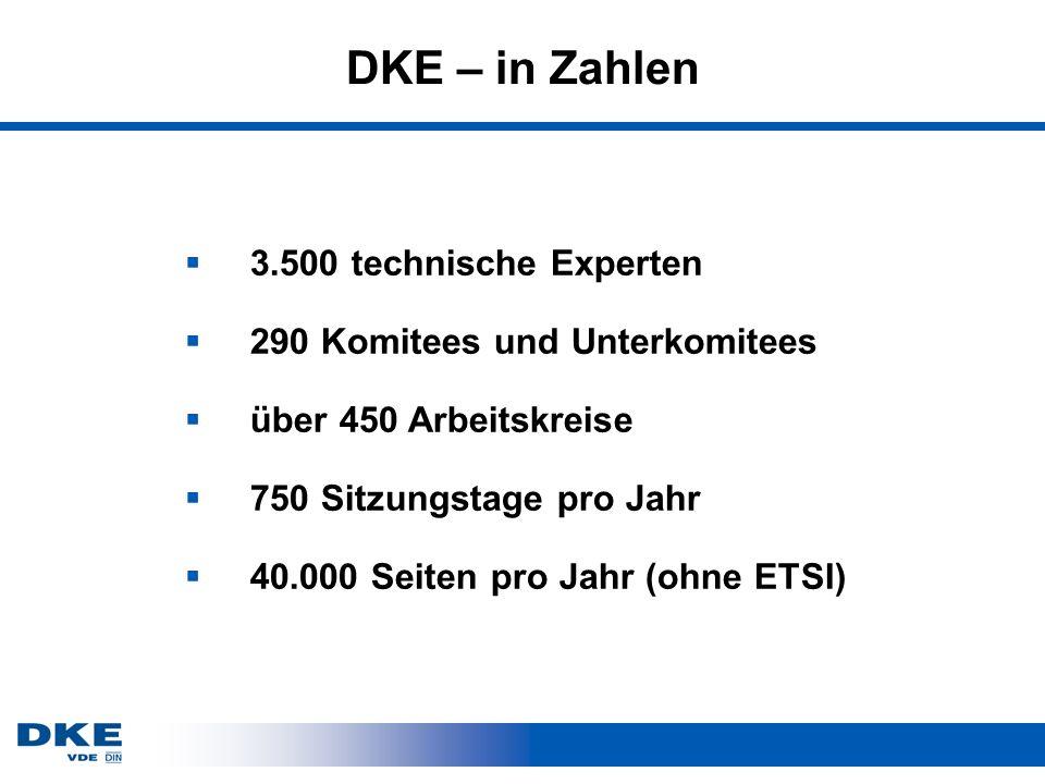 DKE – in Zahlen 3.500 technische Experten 290 Komitees und Unterkomitees über 450 Arbeitskreise 750 Sitzungstage pro Jahr 40.000 Seiten pro Jahr (ohne