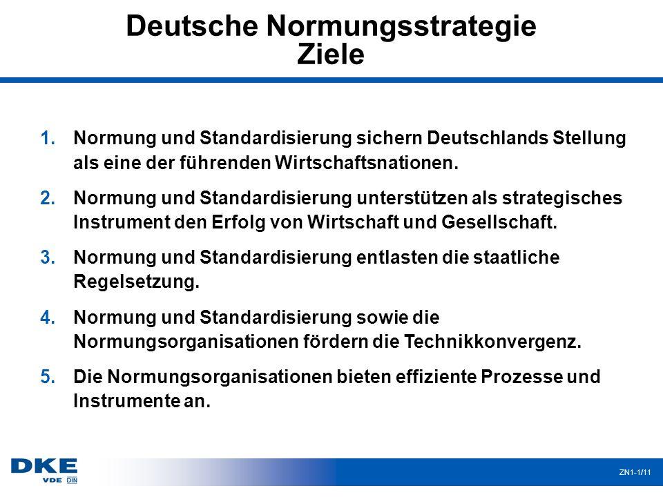 Deutsche Normungsstrategie Ziele ZN1-1/11 1.Normung und Standardisierung sichern Deutschlands Stellung als eine der führenden Wirtschaftsnationen. 2.N
